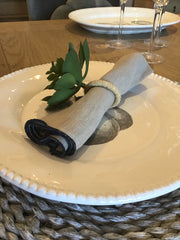 100% Linen Grey Napkin with Navy Trim
