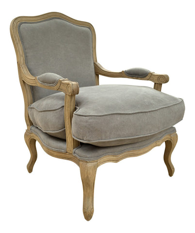 Occasional Chair - French Style Louis Chair Solid Oak - Dove Grey