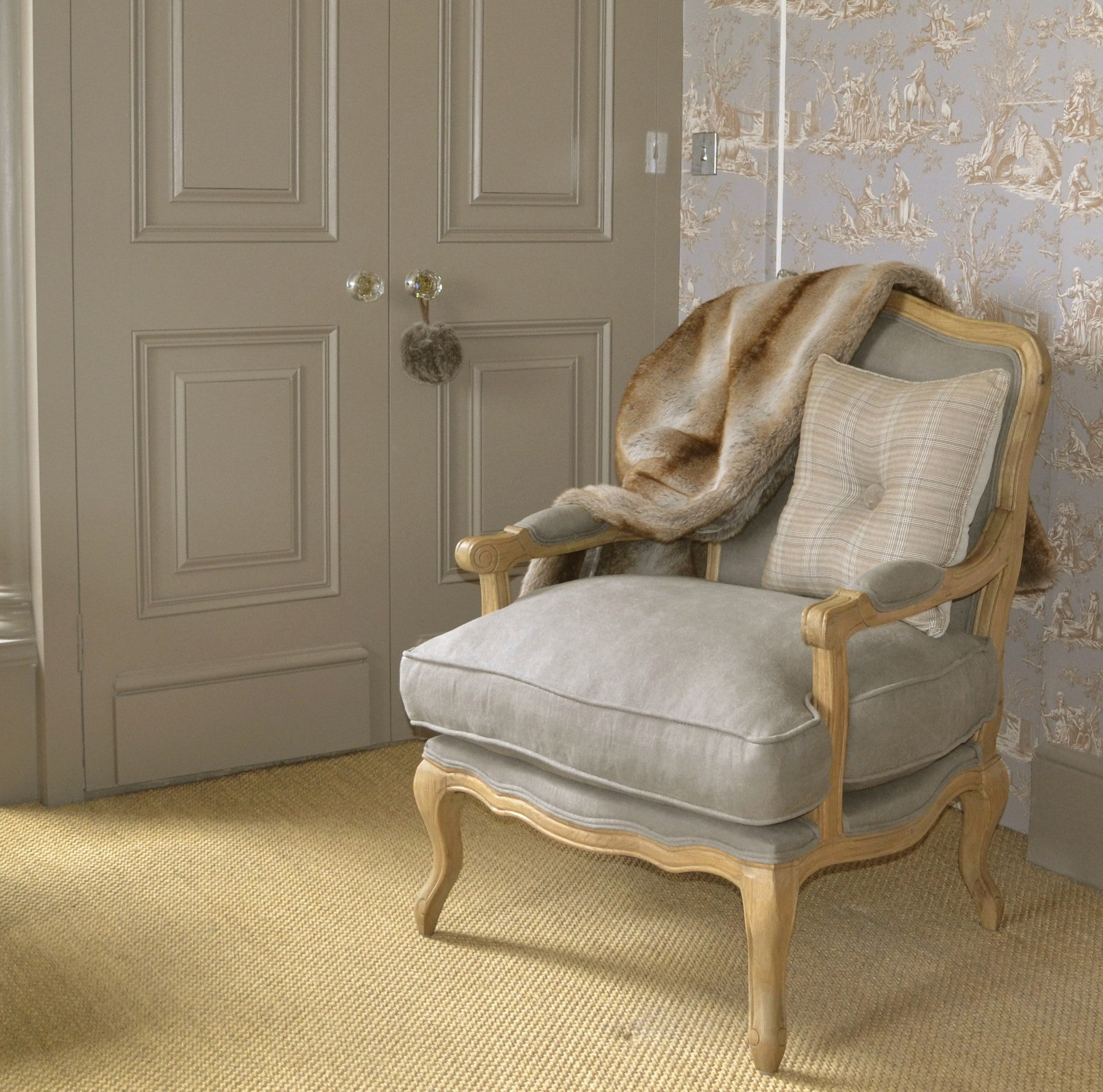 French Style Louis Armchair Solid Oak Dove Grey – La Residence Interiors
