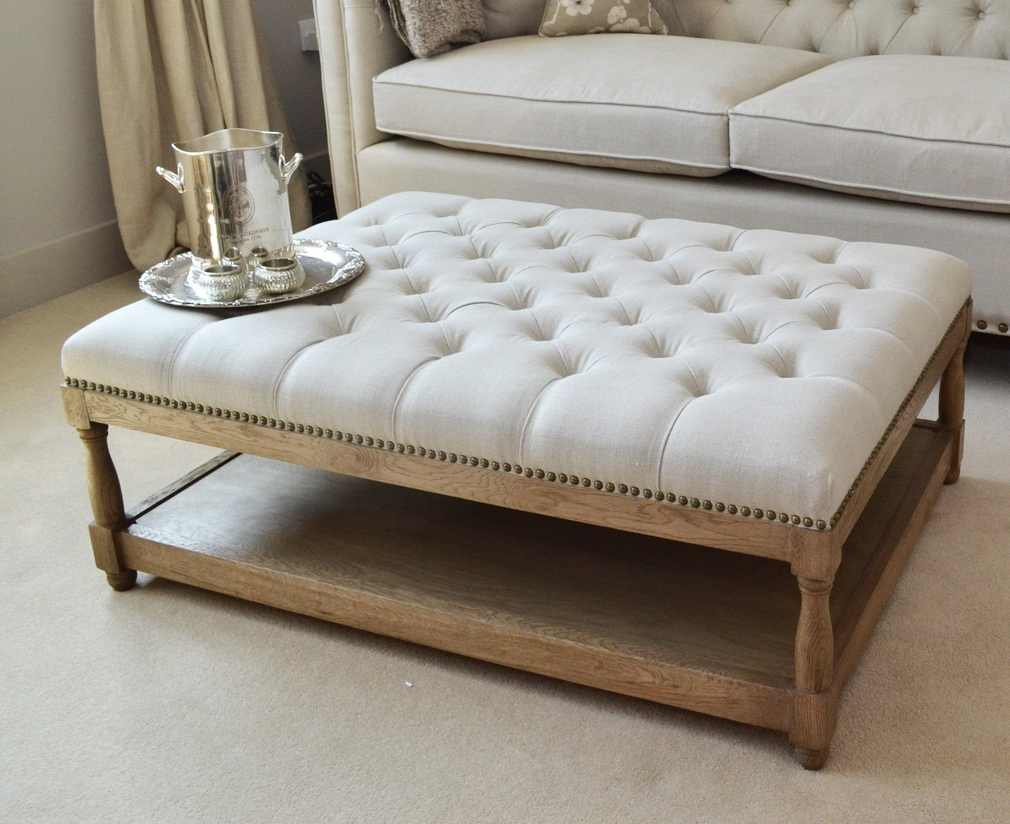 Ottoman Coffee Table Oatmeal Linen