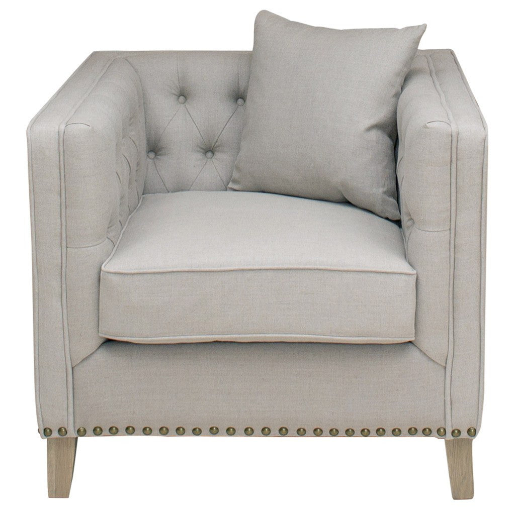 Linen Button Back Armchair - La Residence Interiors