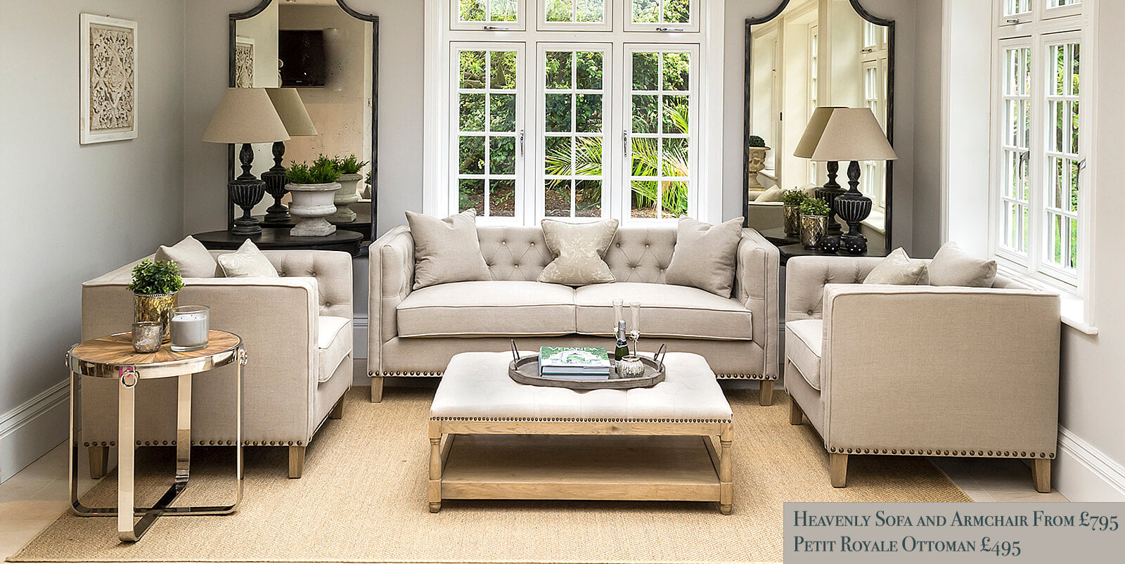 Luxury button back sofas