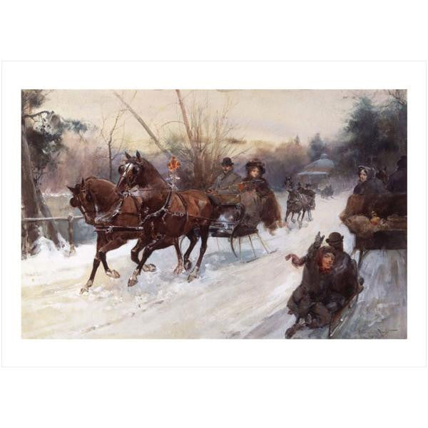 Sleighing in Central Park Note Cards