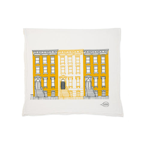 Yellow Brownstone Tea Towel