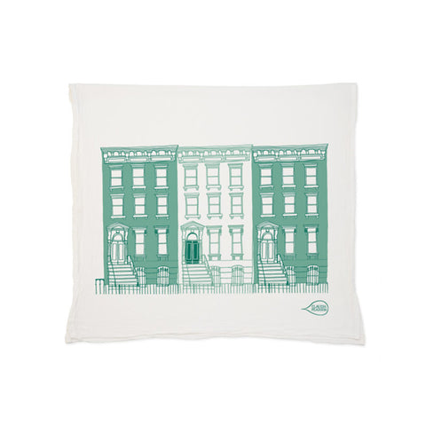 Green Brownstone Tea Towel