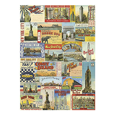New York City Postcard Collage Gift Wrap - Single Sheet