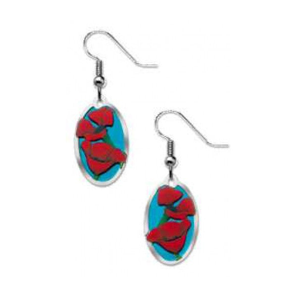 """In Flanders Fields"" Poppy Earrings - New-York Historical Society Museum Store"
