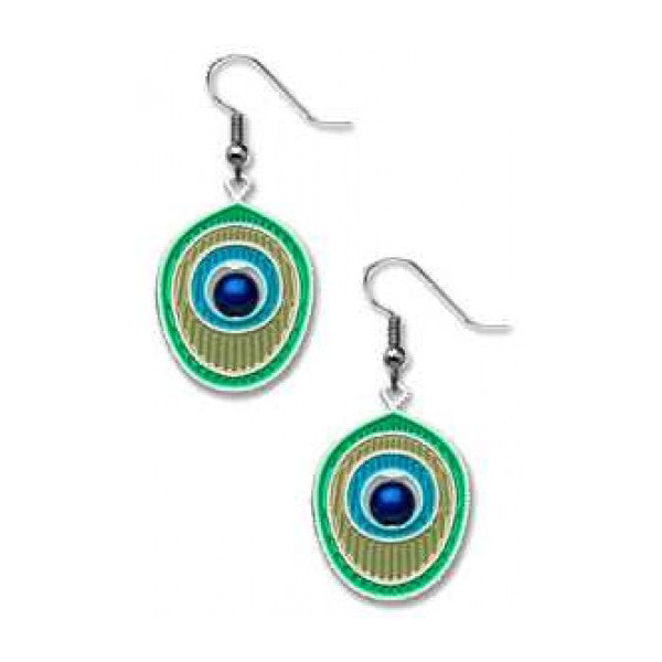 Peacock Feather Motif Earrings