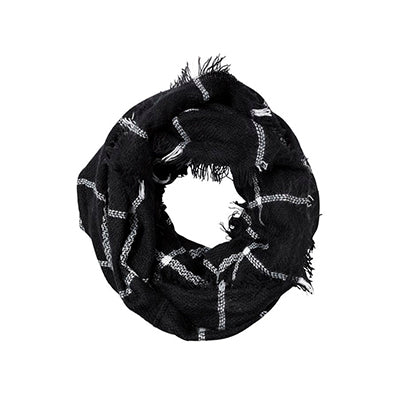 Plaid Infinity Scarf - Black and White