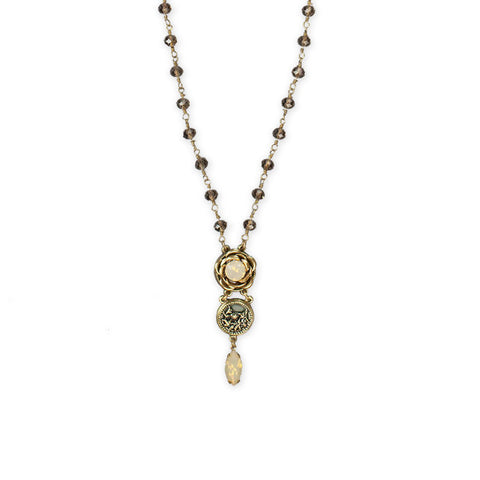 Emmeline Opal Rose Necklace