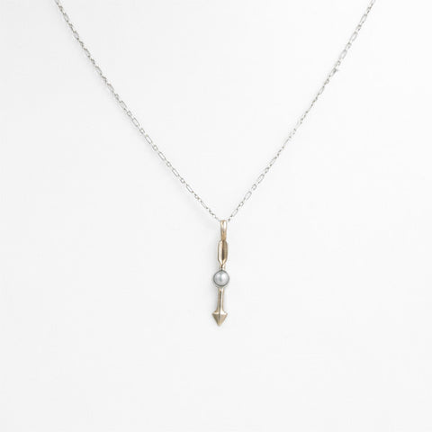 Federal Hall Balustrade Arrow Necklace Pearl