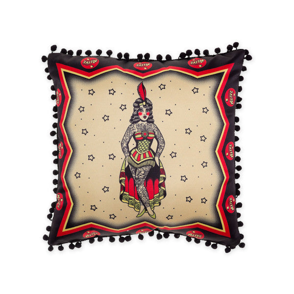 Tattooed Lady Sideshow Pillow