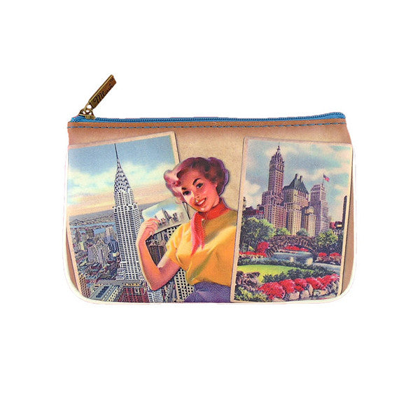 Vintage style New York Pinup Pouch Central Park & Chrysler Building