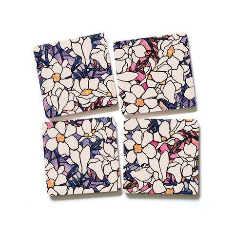 Louis C Tiffany Magnolia Coaster (Set of 4)