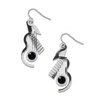 Cubist Guitar Earrings - Black