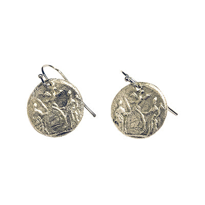 Silver Excelsior Medallion Earrings