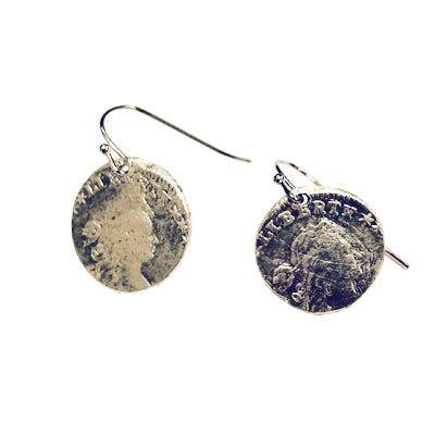 Silver Draped Liberty Medallion Earrings