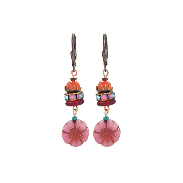 Pink Flower Earring Drops