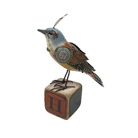 Bird on Letter Block Figurine