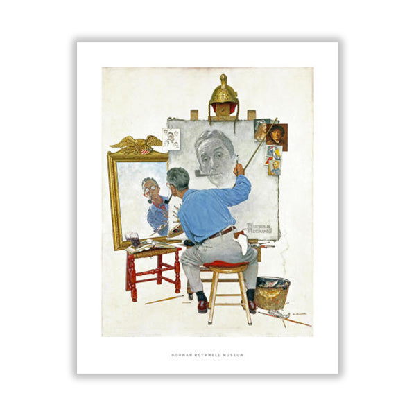 Norman Rockwell Triple Self Portrait Matte Print