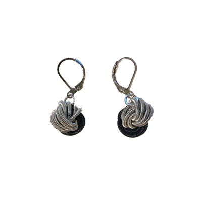 Silver Black Knot Piano Wire Earring