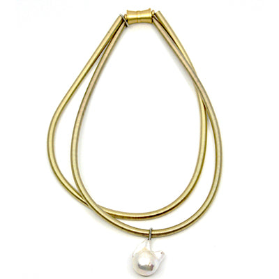 2 Strand Gold Baroque Pearl Necklace