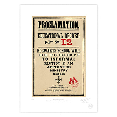 Harry Potter - Proclamation 12 Limited Edition Print