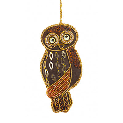 Brown Owl with Sequins Ornament