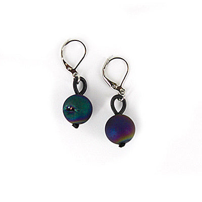 Slate Iris Geode Earrings