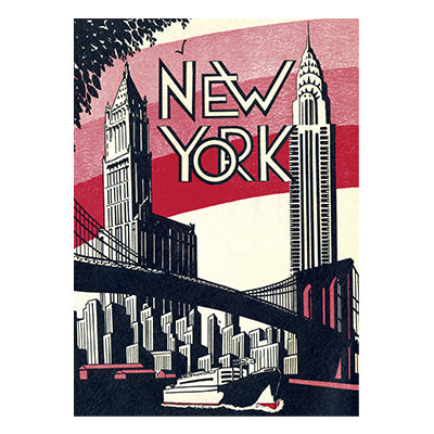 New York City Skyline with Bridge Gift Wrap - Single Sheet