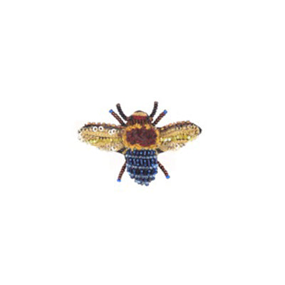 Blue Banded Bee Brooch Pin