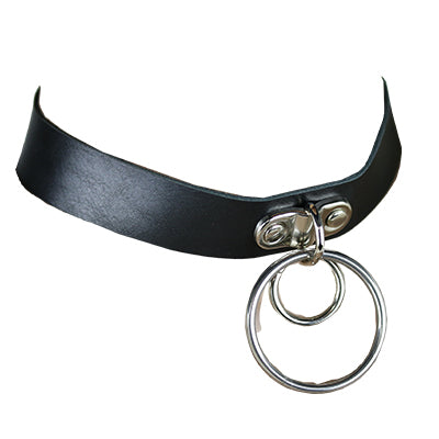 Leather Choker Rings Necklace