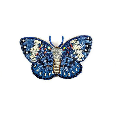 Blue Cracker Butterfly Brooch Pin