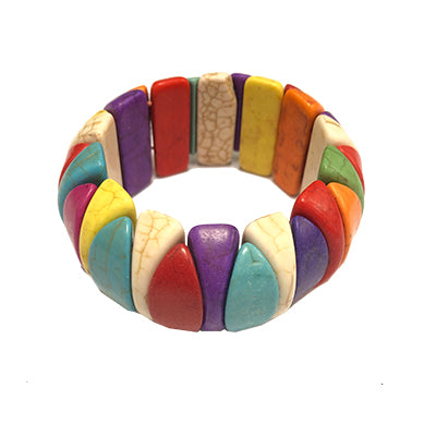 Multicolored Half Moon Howlite Bracelet