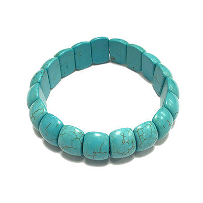Small Chiclet Turquoise Howlite Bracelet