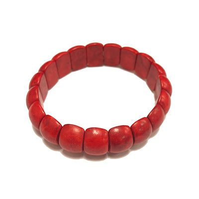 Small Red Chiclet Howlite Bracelet
