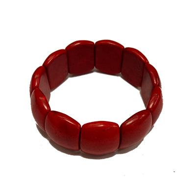 Large Red Chiclet Howlite Bracelet