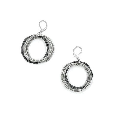 Silver Black Twist Loop Piano Wire Earrings