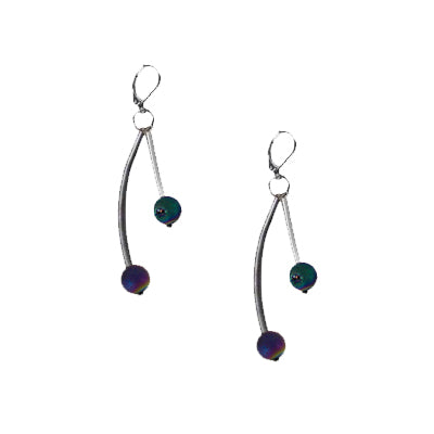 Slate Green Wave Geode Earrings