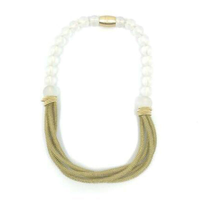 Frosted Bead 4 Strand Piano Wire Necklace