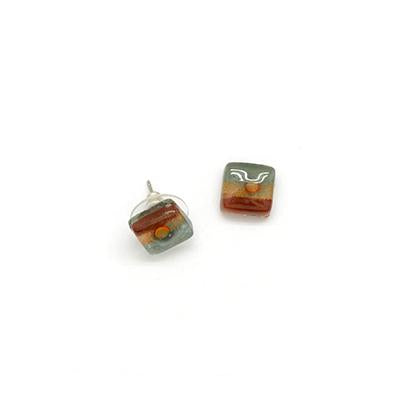 Square Stud Glass Earrings