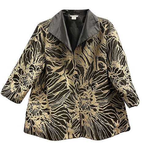 Black Taupe Floral Swing Jacket