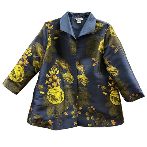 Navy Floral Swing Jacket