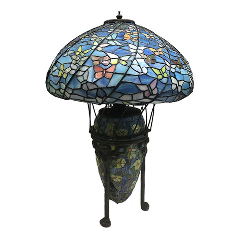 Louis C Tiffany Butterfly Lamp with Mosaic Base