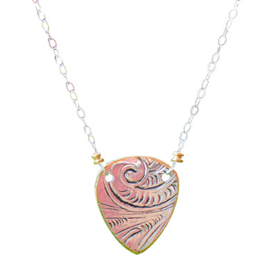 Guitar Pick Shaped Silver Necklace
