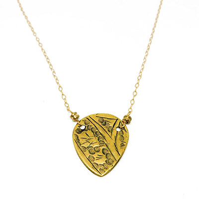 Guitar Pick Shaped Gold Necklace
