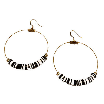 Vinyl Black White Earrings