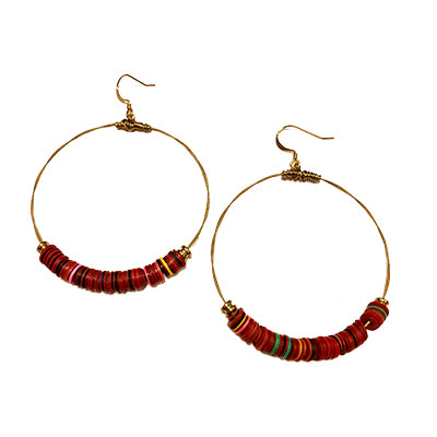 Vinyl Multi Red Earrings