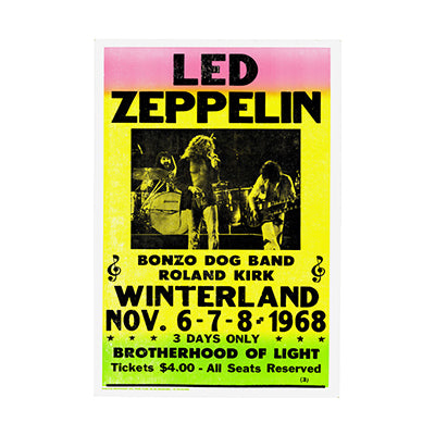 Led Zepplin at Winterland 1968 Nostalgia Print