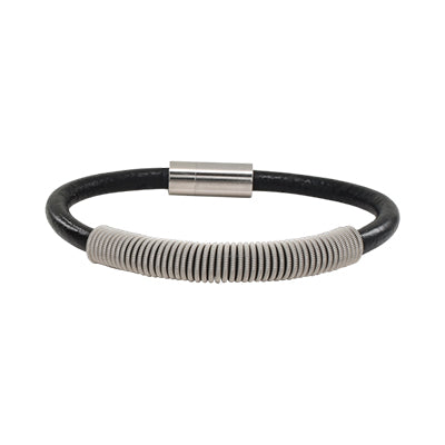 Wound Up Black Leather Guitar String Bracelet